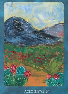 Original-ACEO-Spring-in-the-Desert-Abstract-miniature-acrylic-painting