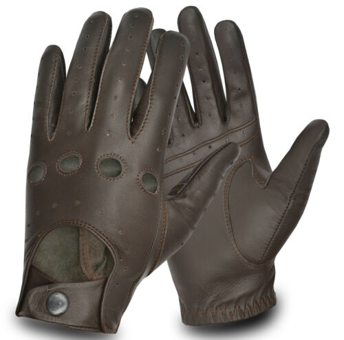Real Leather Driving Gloves Retro Style Bike Motorbike Road Touring chauffeur