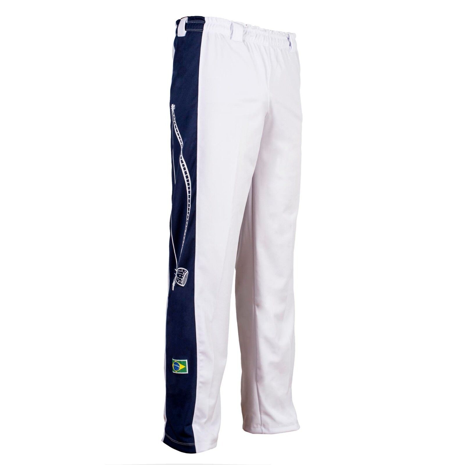 White Berimbau Brazil Traditional Capoeira Abada Elastic Trousers Pants 6 Sizes