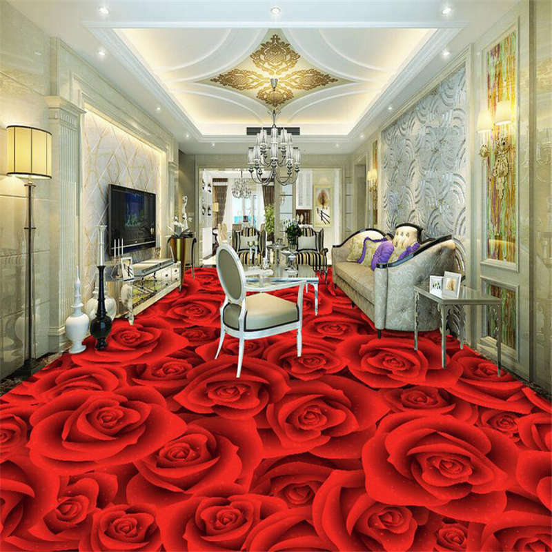 Happy valentines Roses  3D Floor Mural Photo Flooring Wallpaper Home Wall Decal