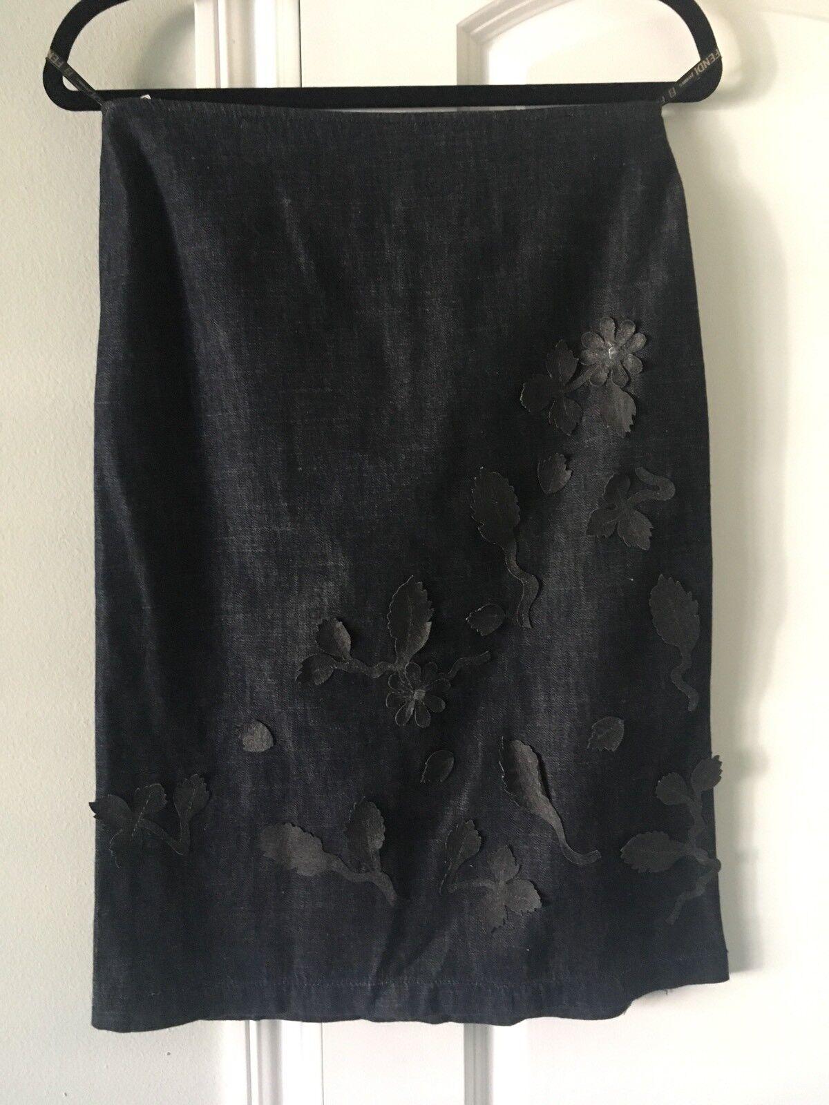 Fendi Floral Navy bluee Skirt Size 30