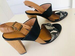 JO-MERCER-LEATHER-Snake-print-black-tan-sling-back-heels-sz7-Excellent-EUC
