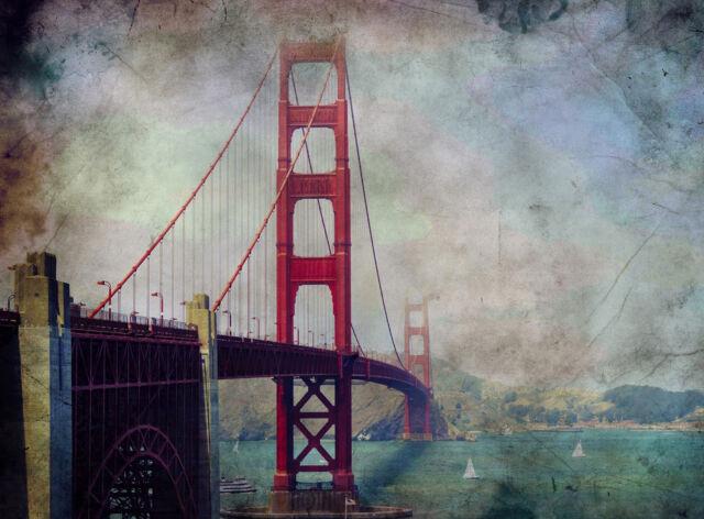 Photo Painting Golden Gate Bridge San Francisco Poster Wall Art ...