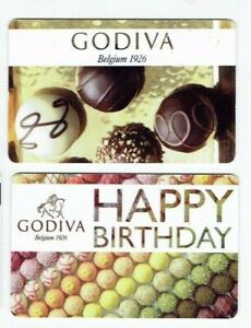 GODIVA-Gift-Card-Belgium-Chocolates-LOT-of-2-Cards-Collectible-No-Value