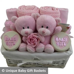 Adorable Twin Girls Baby Gift Basket Hamper Baby Shower New Baby