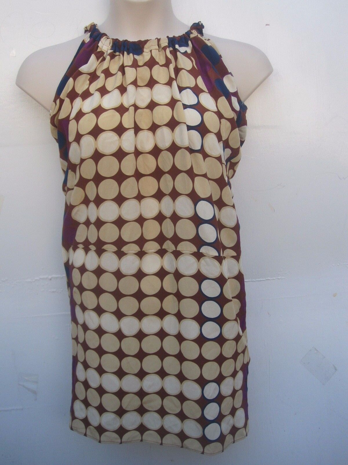 Marni for H&M Polka Dot silk Dress sz 2 Woman braun Beige lila Navy Blau
