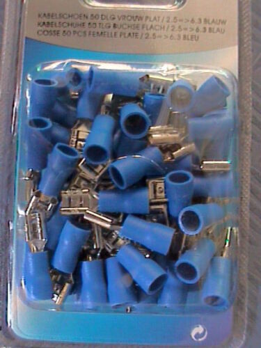 crimpadora 50 x parte enchufe aislados 2,5 mm² azul hembra cable zapatos F