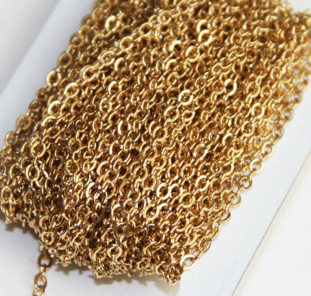 32 ft Spool of Gold Plated small flat cable chain 2mm