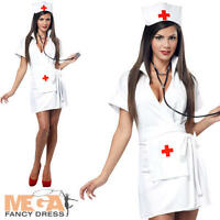 Sexy Nurse Ladies Fancy Dress Uniform Womens Adults Costume Outfit + Hat UK 8-16