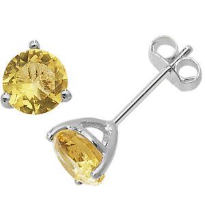 Sterling Silver Basket Set Genuine Citrine November Birthstone Stud Earrings