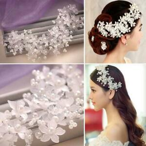 Faul-Pearl-Crystal-Bridal-Wedding-Party-Brides-Flower-Wire-Hair-Pin-Hairpin-UK