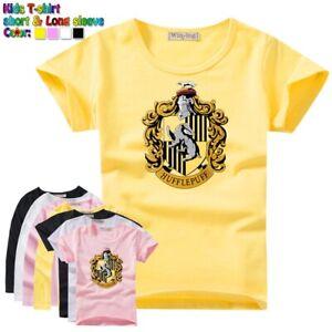 2b45b9c70dd5d Details about Harry Potter School Hufflepuff Badger Kids Childs T-Shirt  Girls Boys Graphic Tee