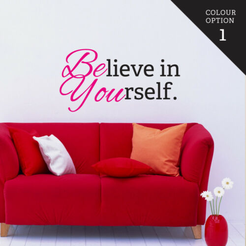 Believe In Yourself Magenta Wall Sticker Home Quotes Inspirational Love MS142VC