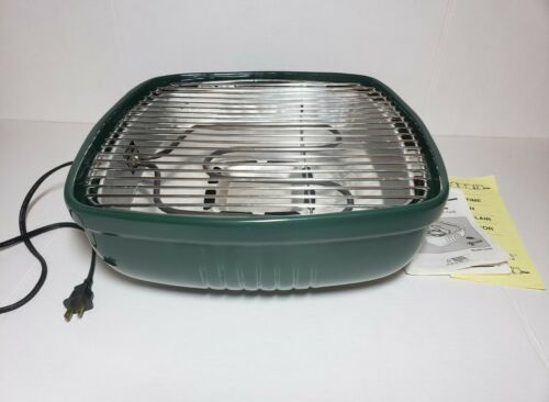 """Vintage Rival Crock Grill 5760 Green Smokeless Indoor Electric 13"""" Grill"""