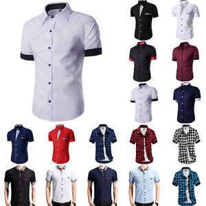 Men-Business-Formal-Dress-Shirt-Short-Sleeve-Summer-Casual-Slim-Fit-Tops-Blouse