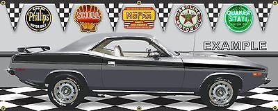 1958 PLYMOUTH BELVEDERE 2-DOOR COUPE RED GARAGE SCENE BANNER SIGN ART MURAL 2X5