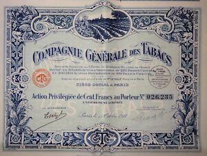 Cgt Compagnie Générale Des Tabacs Action Privilégiée 100 Francs 1927 Qvlplmku-07221400-552347998