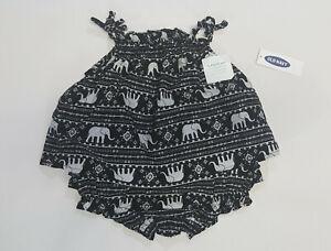 NWT-Baby-Girls-Old-Navy-Size-0-3-6-12-Months-Black-Elephant-Bloomer-Set