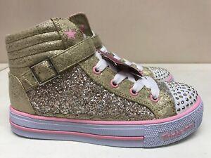 Respeto a ti mismo completamente Pacer  Kids Skechers S Lights Shuffles Glittery Girly Gold/Pink 10923L/GDPK | eBay