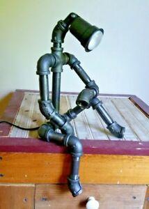Image Is Loading Robot Lamp Pipe Light Man Cave Garage Mechanic