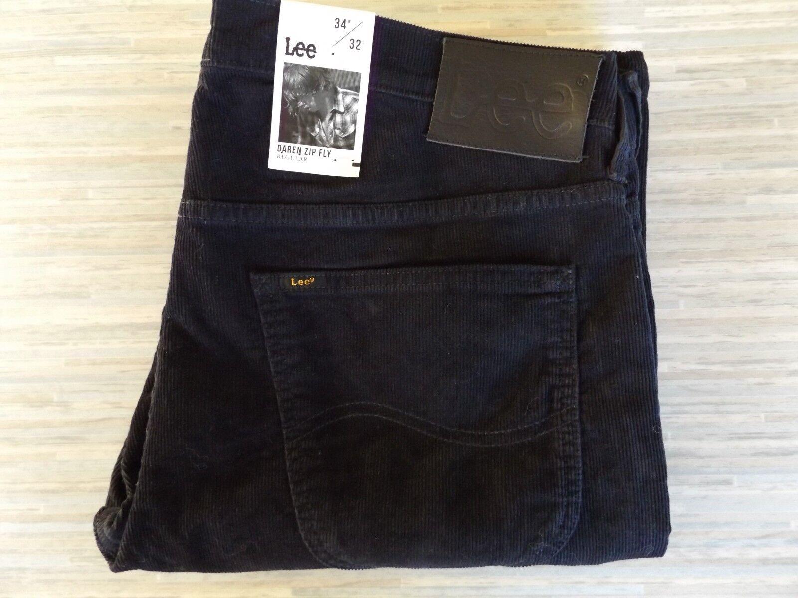 Uomo Lee Daren Cerniera RACCORDO Regolari Jeans in stile CAVI NERO NUOVO CON ETICHETTA W34 L32