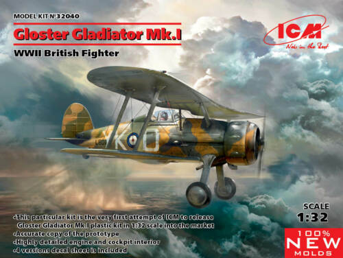 ICM 1//32 Gloster Gladiator Mk.I WWII British Fighter # 32040