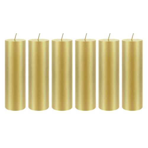 "Mega Candles Unscented 2/""x 6/"" Hand Poured RND Premium Pillar Candle Gold 6PCS"
