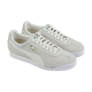 Puma-Roma-Suede-Mens-White-Suede-Low-Top-Lace-Up-Sneakers-Shoes