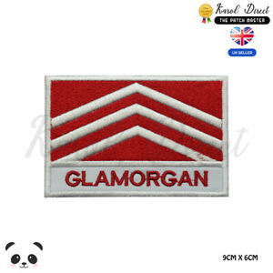 GLAMORGAN-Wales-County-Flag-With-Name-Embroidered-Iron-On-Sew-On-Patch-Badge