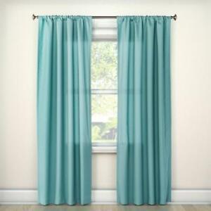 Room Essentials Light Filtering Aqua Cafe Curtain Set 42