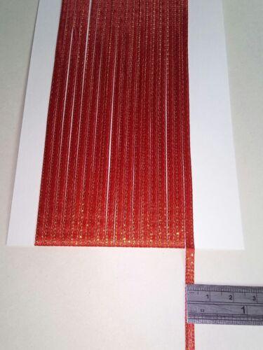 5M 3mm Oro Rojo Delgada Cinta de Raso tarjetas colección de recortes Home Decor Art Craft