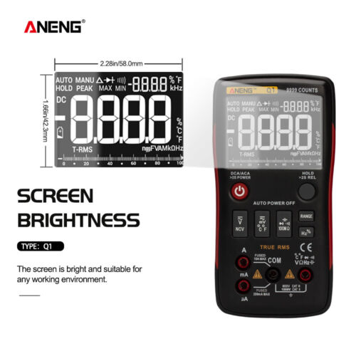 ANENG Q1 9999 Digital Multimeter Auto Range LCD Voltmeter Tester H Ammeter AC WO