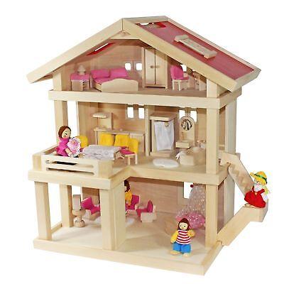 Villa Freda rosé Puppenhaus Stadtvilla + Puppenfamilie + Puppenmöbel + Babywiege