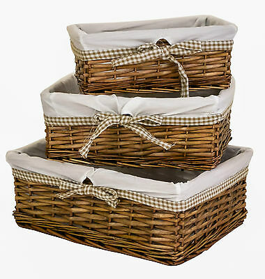 e2e Antique Brown Wicker Shallow Storage Basket w/ Taupe Gingham Liner 3 Sizes