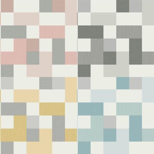 Square Geometric Aqua Pink Yellow White Grey Metallic Shimmer Retro Wallpaper