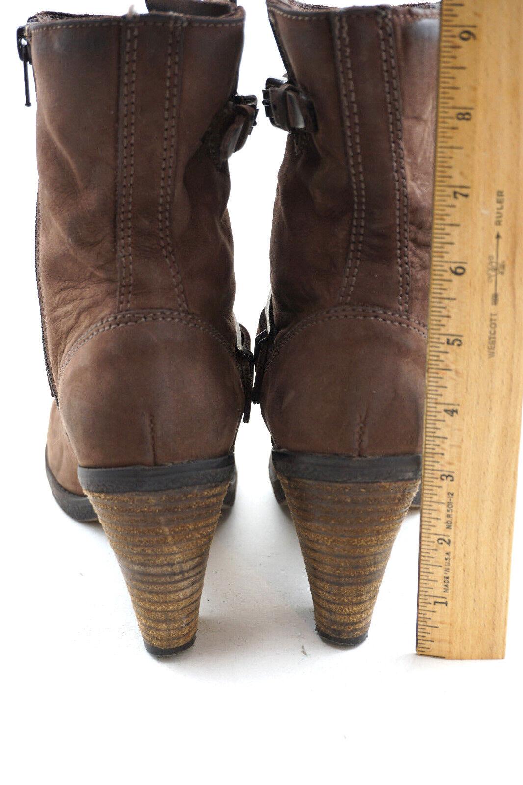 LA CANADIENNE dark Braun suede Leder ankle ankle Leder Stiefel US6 Zip Buckle accent e213d2