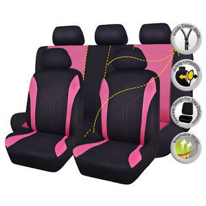 Car-Seat-Covers-Universal-washable-pink-rear-bench-split-40-60-50-50-Polyester