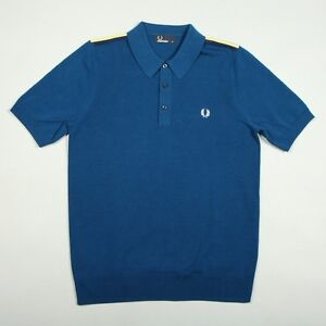 Fred-Perry-Shoulder-Tape-Knitted-Polo-Shirt-Men-039-s-Short-Sleeved-Top-K6221-174