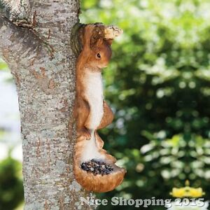 Image Is Loading Squirrel Statue Garden Sculpture Bird Feeder Tree Hanger