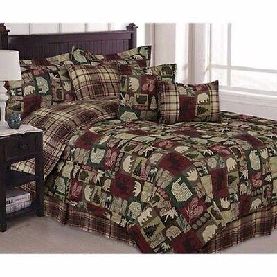 Cabin Bear Moose Saranac Patchwork Twin 5 piece Comforter Set
