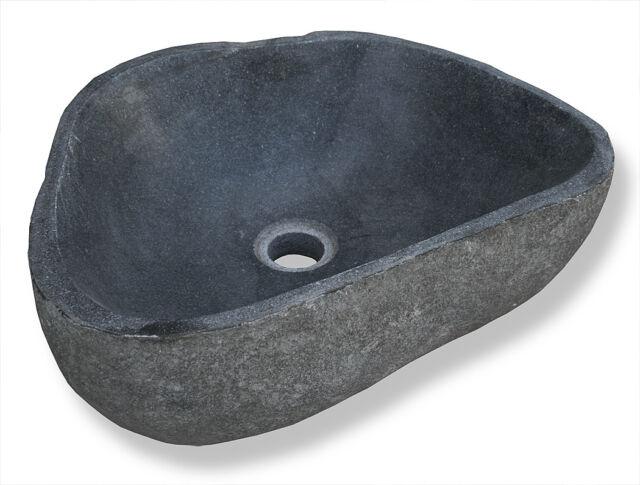 KMH® Aufsatzwaschbecken Naturstein Waschbecken Waschschale Findling Flußstein
