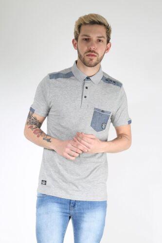 Rawcraft Mens Front Pocket Contrast Patch Shoulder Short Sleeve Collared T Shirt