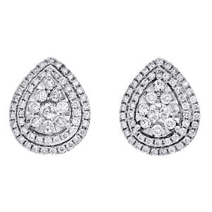 .925 Sterling Silver Round Pave Diamond Ladies Mini Heart Stud Earrings 0.05 Ct.