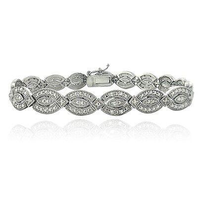 Silver Tone 1/4ct Diamond Marquise Link Bracelet