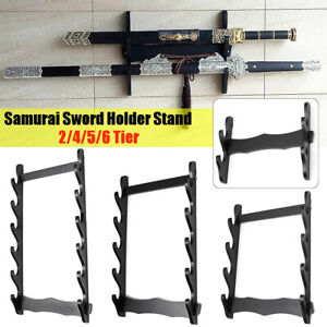 2-4-5-Wall-Mount-Samurai-Sword-Katana-Holder-Stand-Hanger-Bracket-Rack-Display