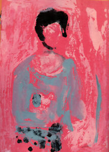 8x10 Print - Pink Abstract Woman & Cat Figure Print Katie Jeanne Wood