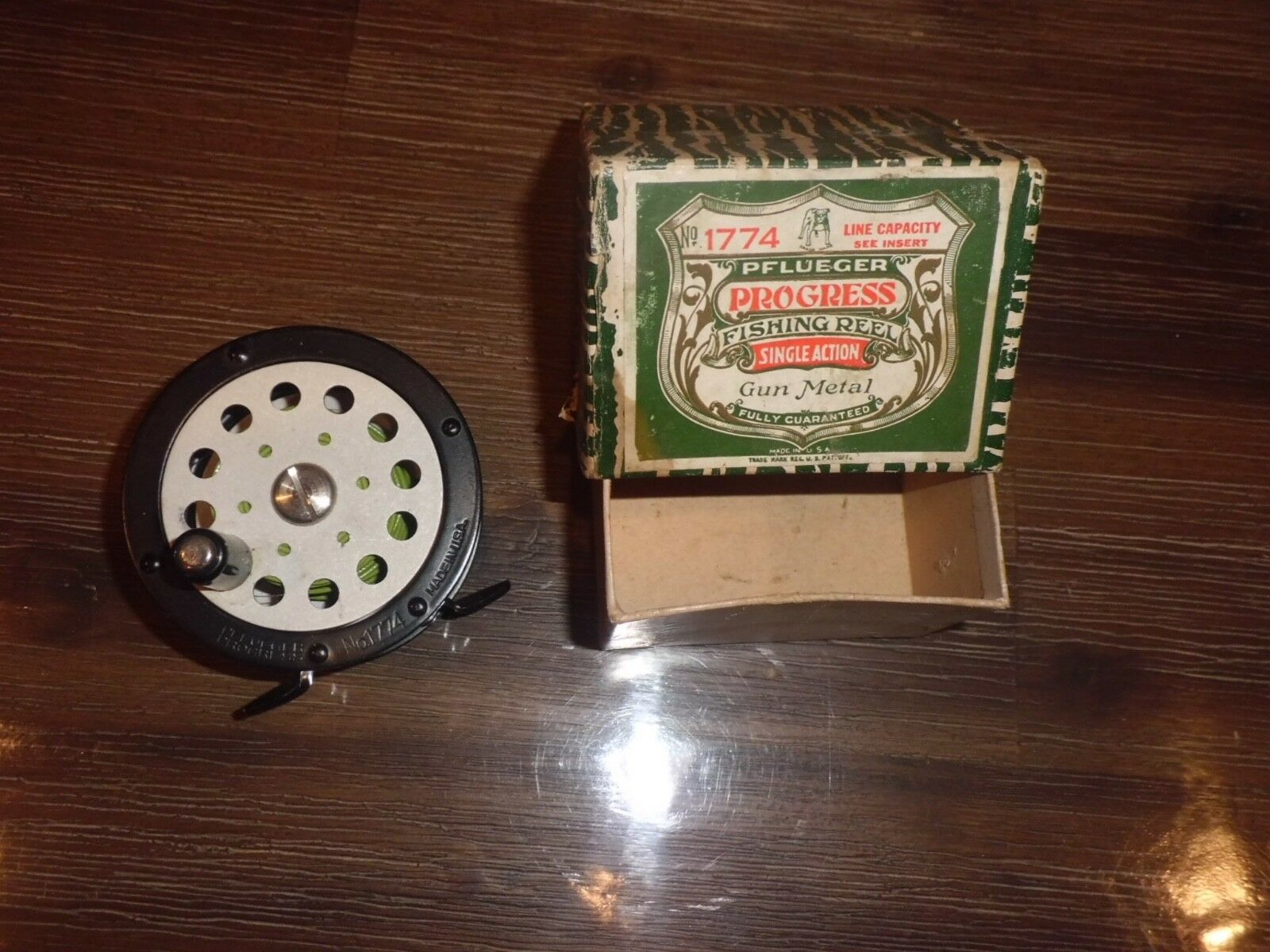 Vintage Pflueger Progress 1774 Single Action Fly Reel- USA w  Box- Must See