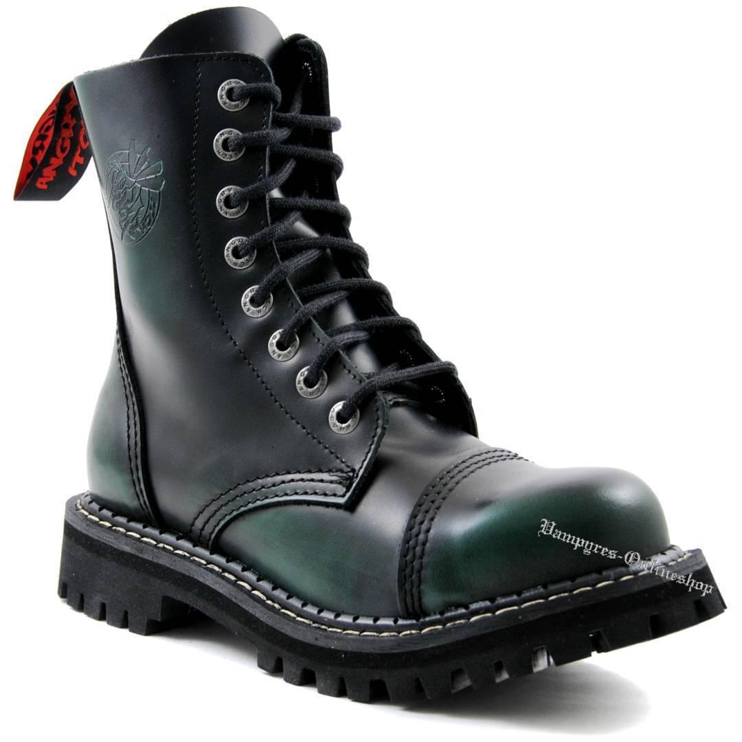 Angry Itch 8 agujeros dark green Rub-off rojo negro verde Ranger botas tapas de acero