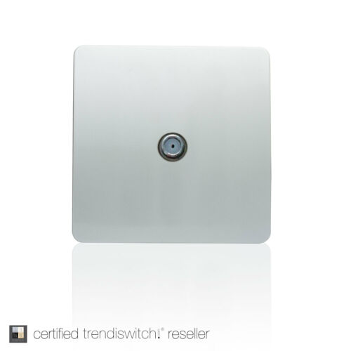 Trendi 1Gang Artistic Modern Glossy Screwless Television Satellite Socket Silver