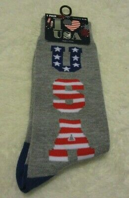 size 6-12 Nwt Flight Tracker I Love Usa Women's Mid-calf Socks Gray W/red White Blue Usa Print Collectibles